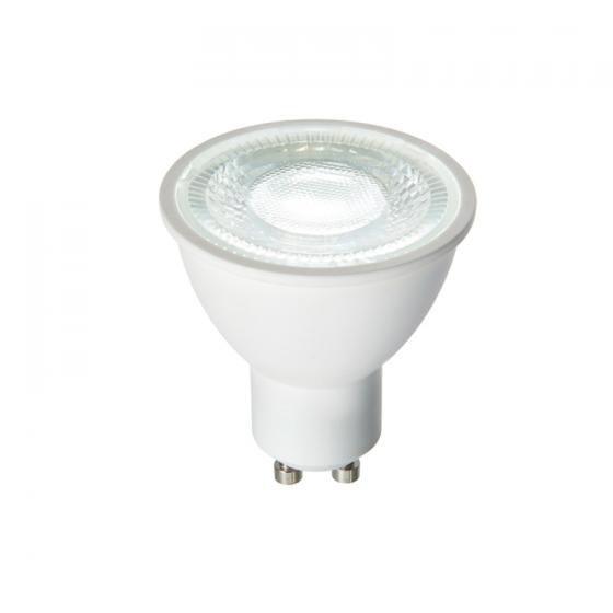 National Lighting 7w Led Smd Gu10 Cool White Lamp 60 Degree Beam Angle 590lm 4000k Matt White Finish National Lighting Online Shop